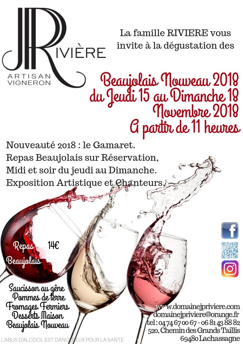 Beaujolais Nouveau 2018du Jeudi 15 au Dimanche 18 Novembre 2018A partir de 11 heures