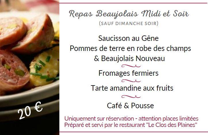 Repas Beaujolais du Domaine JP RIVIERE
